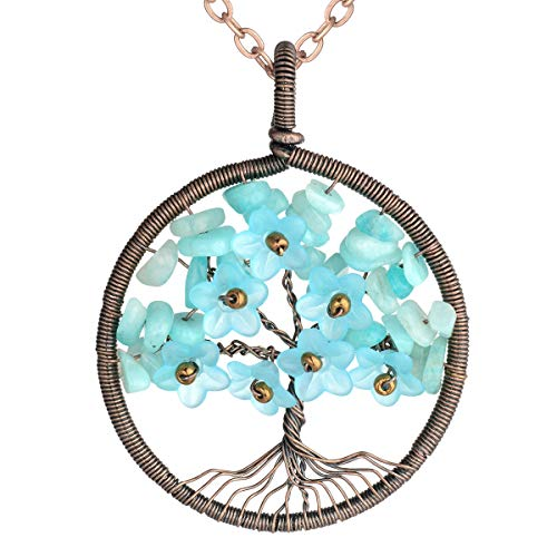 sedmart Amazonite Chakra Healthy Healing Stone Tree of Life Necklace with Flower Petal Floral Yoga Necklace