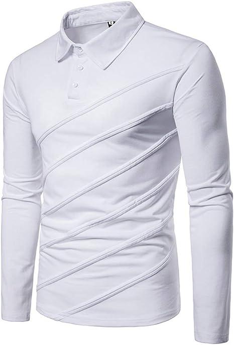 NISHIPANGZI Hombres Camiseta Polo Mosaico Casual Botón Banda ...