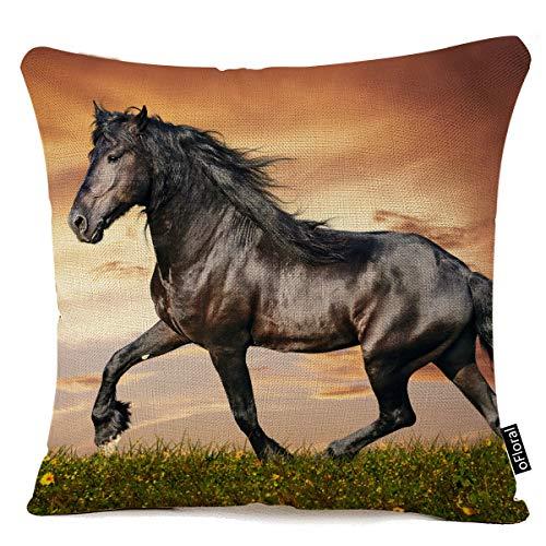 - oFloral Black Horse Pillow Case Cushion Cover Cotton Linen Sofa Waist Pillowcase Home Decor 18 x 18 Inch Pillow Cover