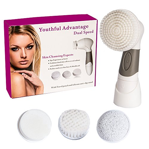 2 Speed Facial Exfoliating Cleansing Brush; Blackhead Exfoliator, Face Cleaner Scrub And Body Skin Cleanser Kit. Electric Spin Scrubber Brushes For Oil Exfoliation. Your Secret To Radiant Soft Skin!