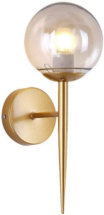 HK5G Esférico LED Lámpara de Pared,Aplique de Bola de Cristal Estilo Nórdico Soporte Metalico Aplique de Pared Creativo Minimalista,Adecuado Para Pasillos, Salas de Estar, Balcones, Dormitorios(Oro)