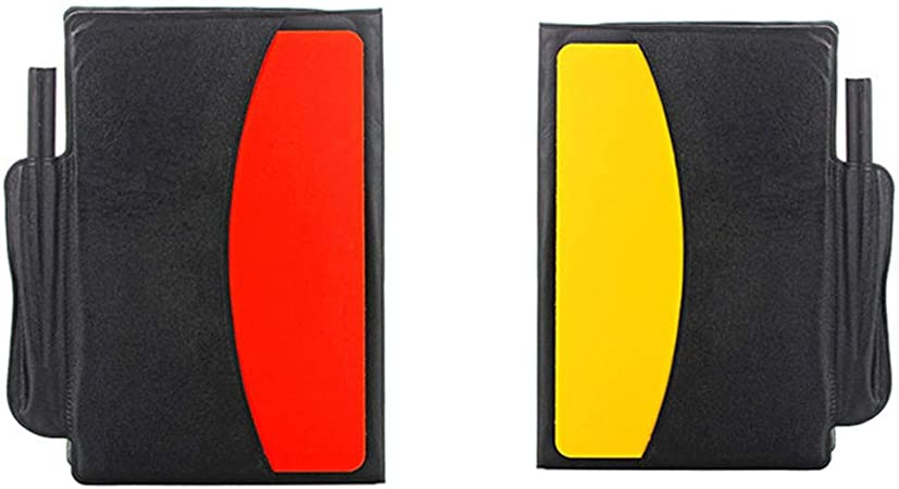 LIOOBO 1 Set Referee Card Set Red and Yellow Cards and 2 Metal Referee Coach Whistle Soccer Football Referee Kit