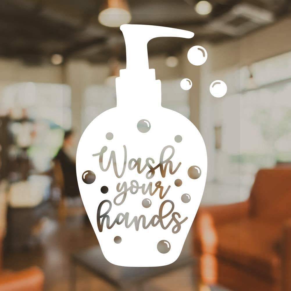 "FaCraft Wash Your Hands Sticker,7""x 10"" Hand Washing Signs Sticker for Office, School, Store, Restaurant."