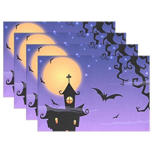 1 PCS Halloween Bat Washable Placemats Table Mats