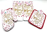#2: Valentines Cotton Kitchen Towels and Oven Set: 2 Towels, 1 Pot Holder, 1 Oven Mitt (Love You More Glam)