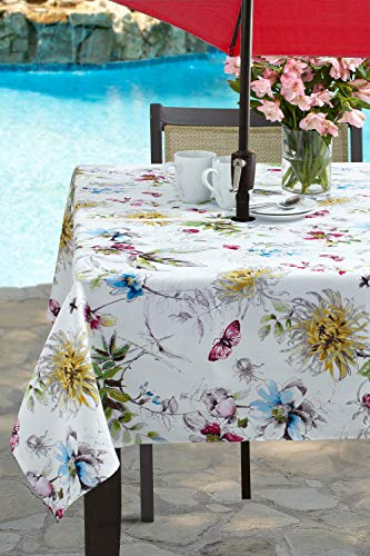 Benson Mills Indoor Outdoor Spillproof Tablecloth for Spring/Summer/Party/Picnic (Blooming Floral, 60