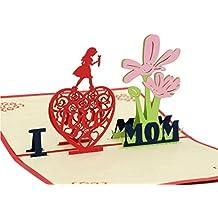 IShareCards® Handmade 3D Pop Up Greeting Cards,Thank You Cards for Mom - I LOVE MOM