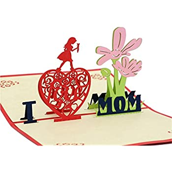 IShareCards Handmade 3D Pop Up Mother's Day Greeting Cards Thank You Cards for Mom - I LOVE MOM
