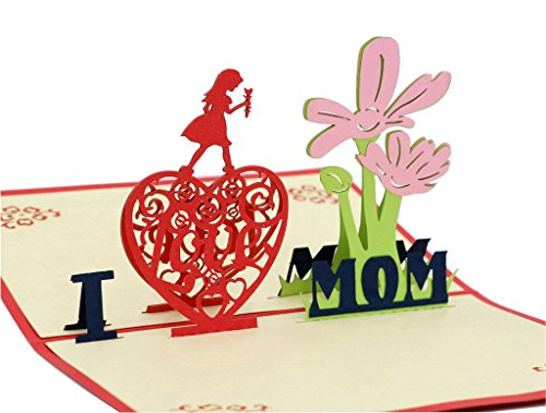Price comparison product image IShareCards® Handmade 3D Pop Up Greeting Cards, Thank You Cards for Mom - I LOVE MOM