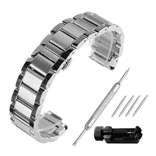 Amazon.com: Beauty7 Brushed & Polished Two Tone Finish 18mm Stainless Steel Link Wrist Watch Band Kit Bracelet Strap Replacement Butterfly Buckle Clasp: ...