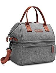 2a52974cbf49 Lokass Lunch Bags for Women Wide Open Insulated Lunch Box With Double Deck  Large Capacity Cooler