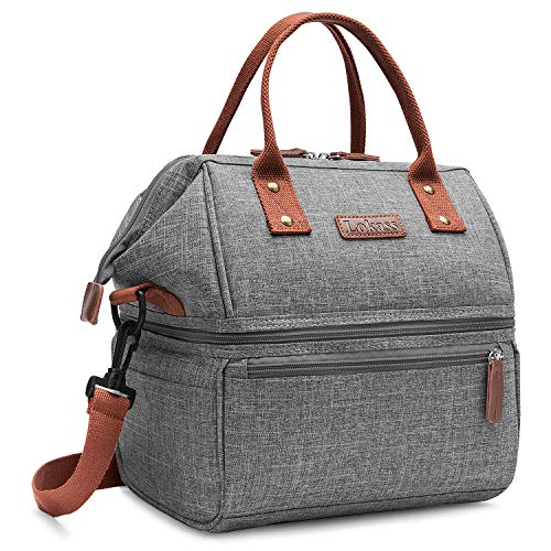 Lokass Lunch Bags for Women Wide Open Insulated Lunch Box With Double Deck Large Capacity Cooler Tote Bag With Removable Shoulder Strap Leak-Proof Lunch Organizer For Men/Outdoor/Work(Grey)