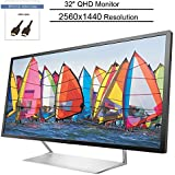 """HP Pavilion 32"""" 2560x1440 2K Resolution 60Hz 7ms 2xHDMI DisplayPort Anti-Glare Screen Backlit LED LCD Monitor, BROAGE 5ft HDMI Cable"""