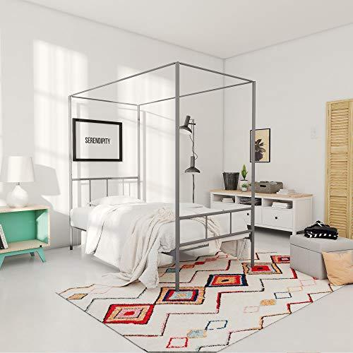 Novogratz Marion Canopy Bed, Drak Gray, - Poster White Twin