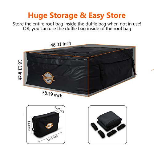 Sailnovo 19.2 Cubic Feet Car Roof Top Carrier, Water Resistant Car & Van Soft Rooftop Travel Cargo Bag Box Storage Luggage (19.2 Cubic Feet, Black) by Sailnovo (Image #3)