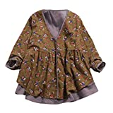 Hem Henleys Tops, Clearance Duseedik Women Cotton Linen Print Double-Layer Fake Two Pieces Loose V Neck Coat Blouse