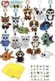 ReBL LLC Unisex Stuffed Animals Beanie Boos Bundle Set of Assorted 6 Clips Keychains Plush Toys Party Favors with 6 Animal Puzzle Erasers and 6 Gift Goodie Bags