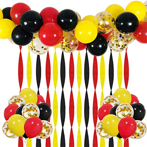 Mickey Party Balloons 40 Pack, 12 Inch Red Black Yellow Latex Balloons with Gold Confetti Balloon Crepe Paper Streamers and Balloon Strip Set for Baby Shower Birthday Party Decorations Supplies -