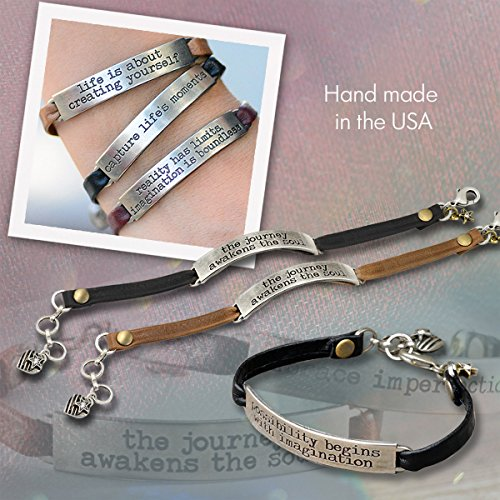 Sweet Romance Trust in the Lord Prov 3:5 Inspirational Leather Band Bible Message Bracelet (Black Leather) by Sweet Romance (Image #1)