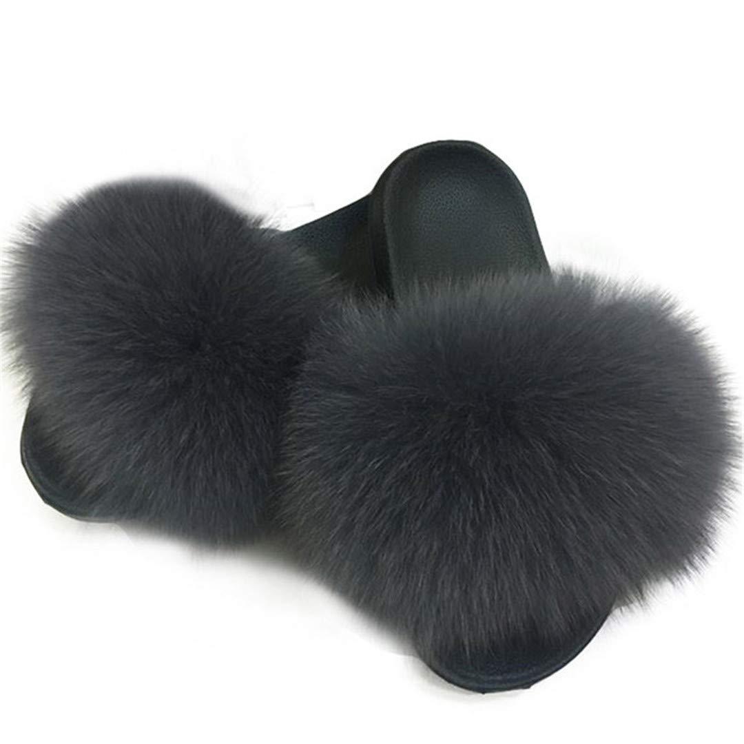 Amazon.com: LTXZ - Zapatillas de verano de pelo de zorro ...
