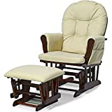 Glider Ottoman Set Beige Polyester Microfiber Upholstery Wooden Frame Rocking Chair with Side Pockets Buttoned Padded Tufted Comfy Gliding Chair and Ottoman Set for Nursery Room eBook by Easy&FunDeals