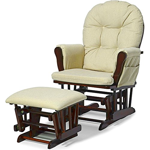 Glider Ottoman Set Beige Polyester Microfiber Upholstery Wooden Frame Rocking Chair with Side Pockets Buttoned Padded Tufted Comfy Gliding Chair and Ottoman Set for Nursery Room eBook by Easy&FunDeals by EFD