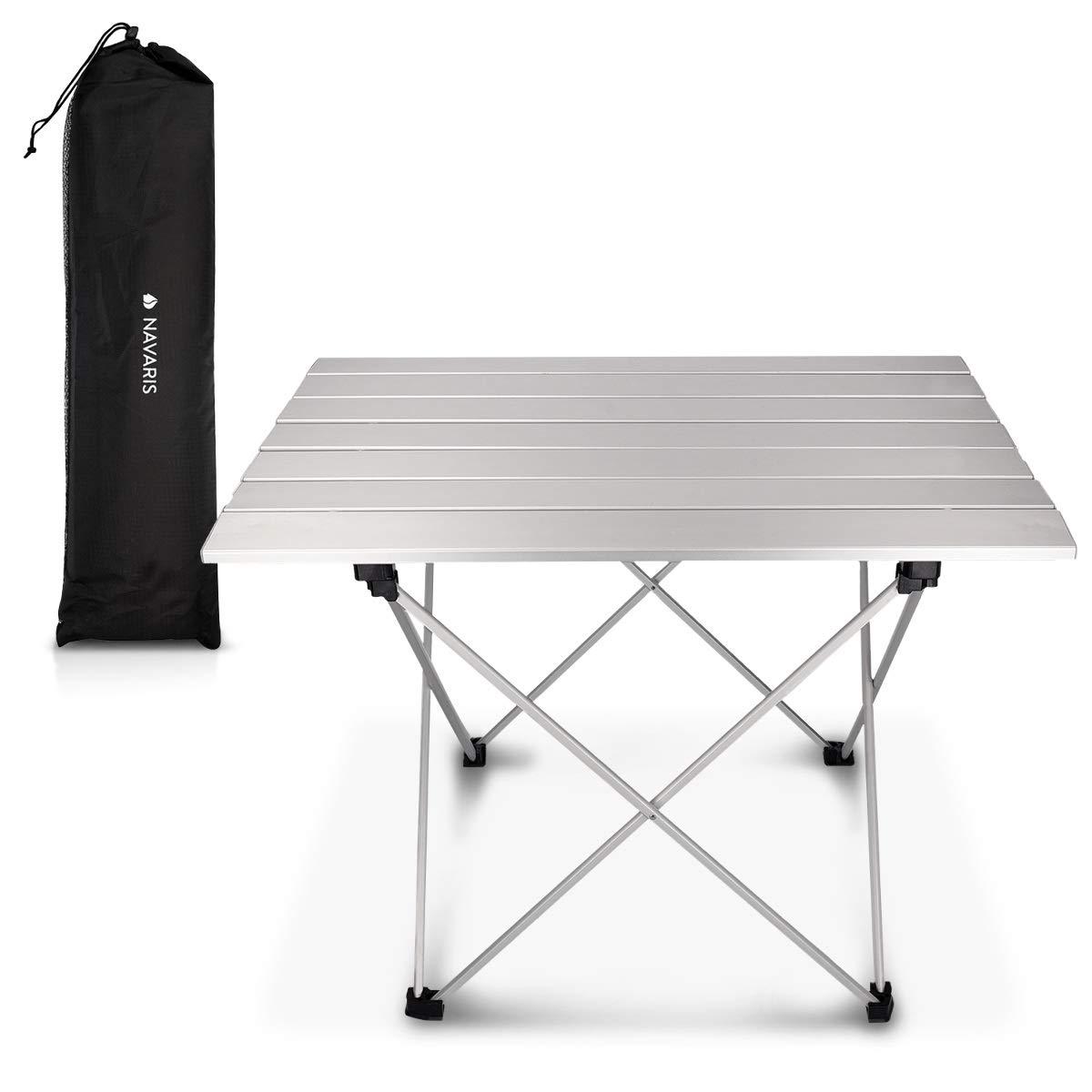 Navaris Table de Camping Pliante - Table Pliable Aluminium - 55, 7 x 40, 5 x 38, 5 cm Camping Nature Pique-Nique Barbecue Jardin Balcon - argenté 5 cm Camping Nature Pique-Nique Barbecue Jardin Balcon - argenté KW-Commerce 45382.35_m001282