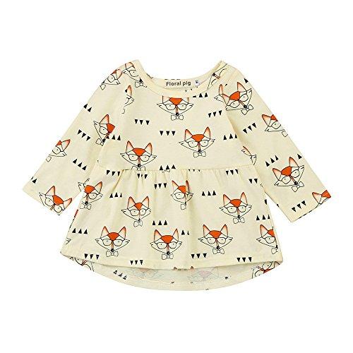Princess Dresses for Girls, Fox Cartoon, Toddler Patchwork Dress, Baby Kids Winter Outfits -