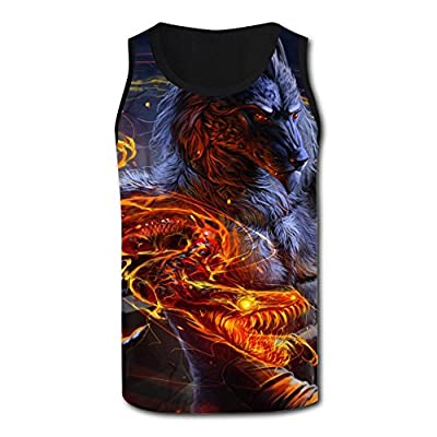 Mens 3D Printed Tank Tops Fantasy Wolf Man and Fire Snake Vest Sleeveless Casual Shirt