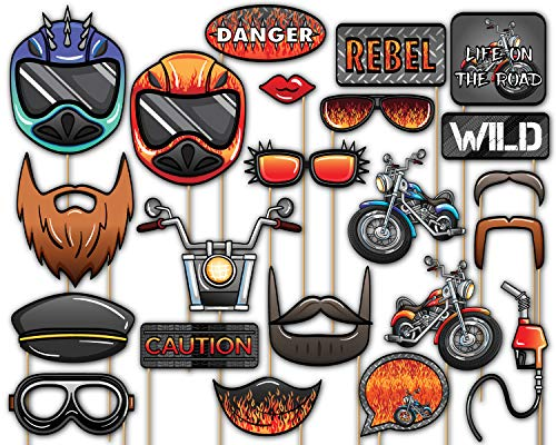 Birthday Galore Motorcycle Photo Booth Props Kit - 20 Pack Party Camera Props Fully Assembled -