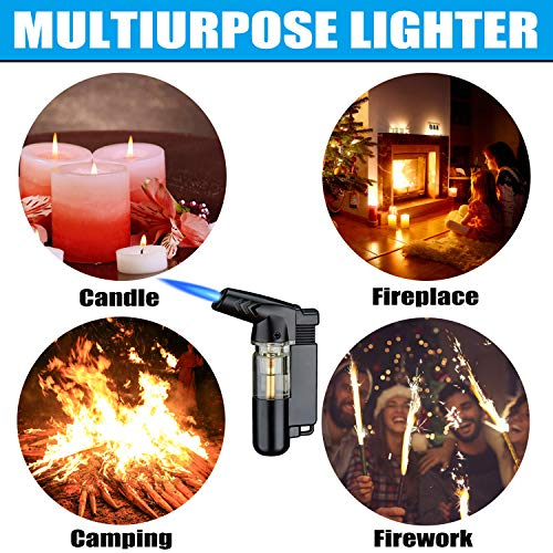Yeuligo Torch Lighters, Butane Lighter with Visible Window and Key Ring, Adjustable and Windproof Gas Lighter for Kitchen Fireplace Candle Grill Camping Fireworks. (Gas not Included) (Black)