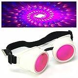 UV Glow in The Dark Steampunk Rave Goggles Spiral Diffraction Retro Round Glasses