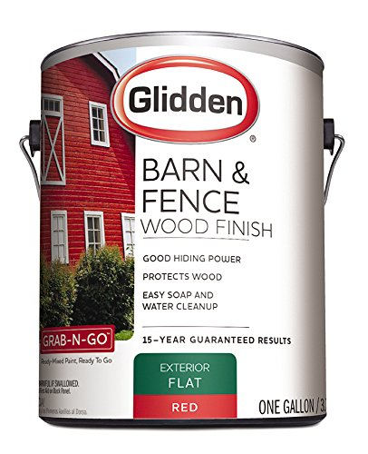 Latex Paint, Barn and Fence, 4099F/01, Flat, Exterior, 1 gal, Red