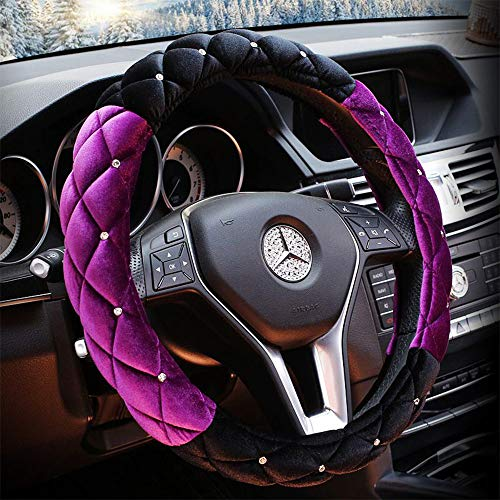 QIMEI Universal Car Steering Wheel Cover Fluffy Size 38cm / 15″ Winter Plush Steering Wheel Cover Warm (A- Purple & Black)
