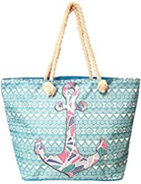 Stained Glass Design with Aztec Stripe Rope Handles Beach Bag Tote