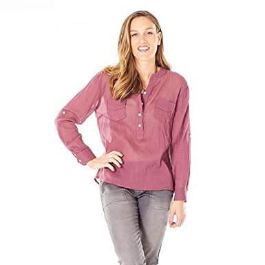 8e68bb1687 Carve Designs TWDG26 Women's Dylan Gauze Button Down Shirt, Clay - LG