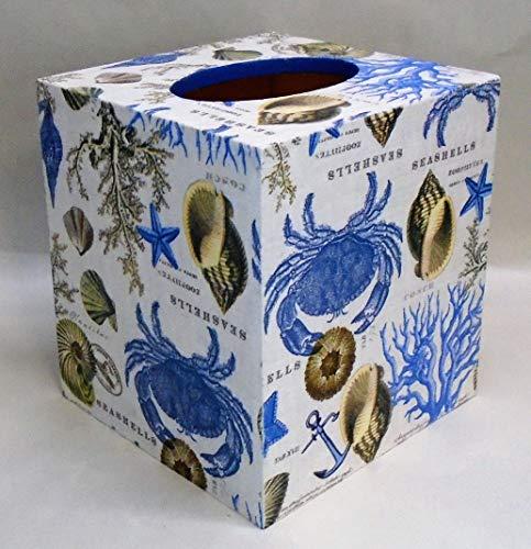 Handmade Decoupage Wood Tissue Box Cover, Seashore, Seashells