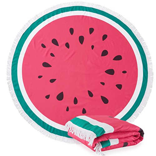 Great Bay Home Round Watermelon Beach Towels. 60 Round. 100% Zero Twist Cotton. Multi-Purpose, Durable, Absorbent Towels for Bathroom, Pool, or Beach (Watermelon)