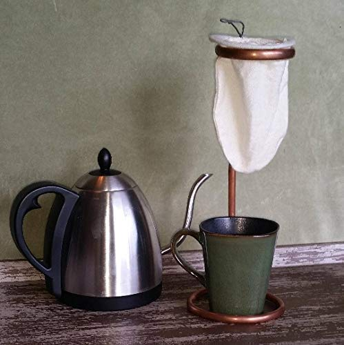 Collapsible Copper Coffee Maker with Reusable Cotton Coffee Sock Filter