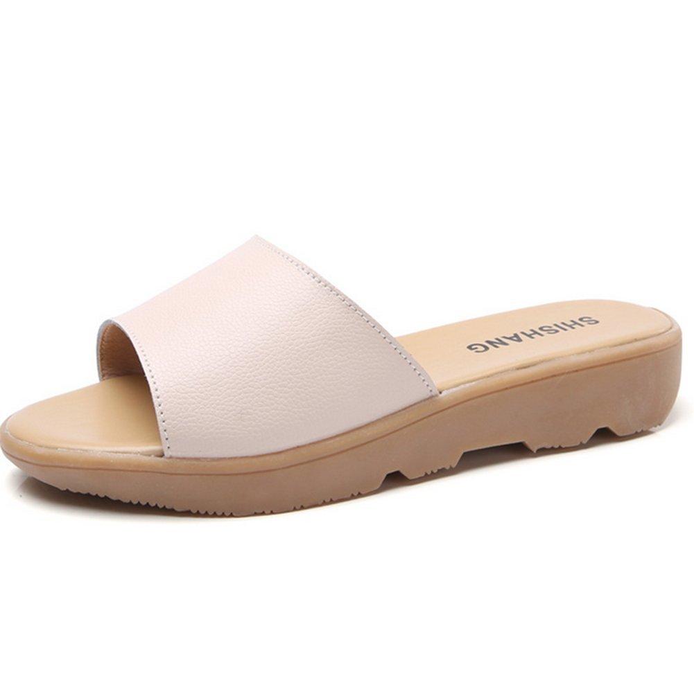Damen Sommer Flachboden Coole Hausschuhe,Komfortabel und entspannend Weich Fashion Slipper-B Fußlänge=24.8CM(9.8Inch)