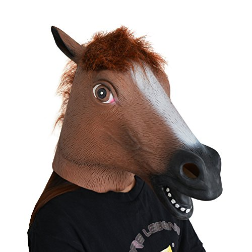 LarpGears Novelty Halloween Costume Party Horse Head Mask for Adults Brown (Full Horse Costume)