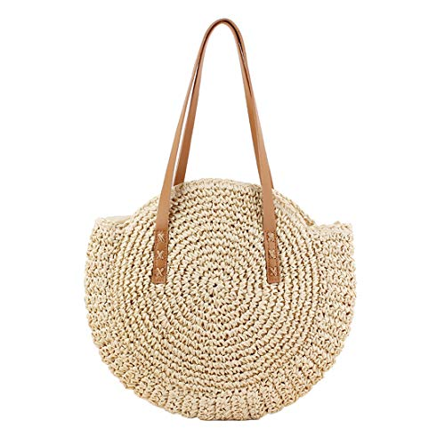 (Women Round Straw Shoulder Bag Tote Summer Woven Beach Bags)