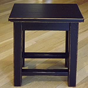 Distressed black wood side table - small end table