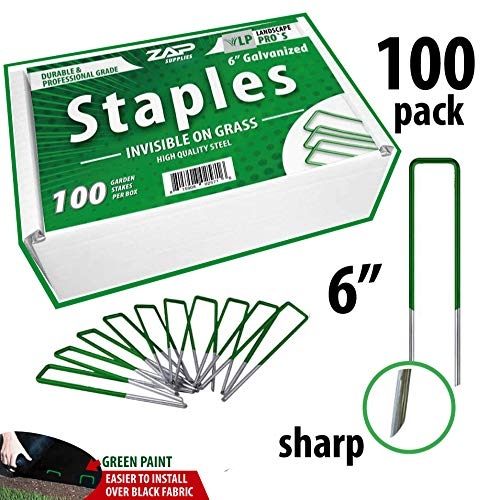 Zap Artificial Grass Stakes U-Type Turf Staples Garden Landscape Staples Stakes Pins 6-Inch Heavy-Duty U-Shaped Lawn Drippers, Weed Barrier Fabric, Ground Cover, Soaker Hose, Irrigation Tubing (100)
