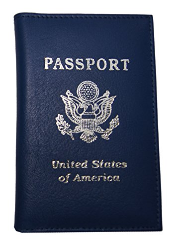 AG Wallets Genuine Leather Travel Passport Cover with USA Emblem (Navy Blue) ()