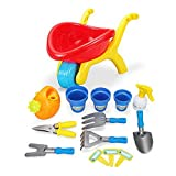 Wheelbarrow Wagon & Gardening Tools Toy Playset for Kids with Hand Tools & Watering Can - 14 Pcs