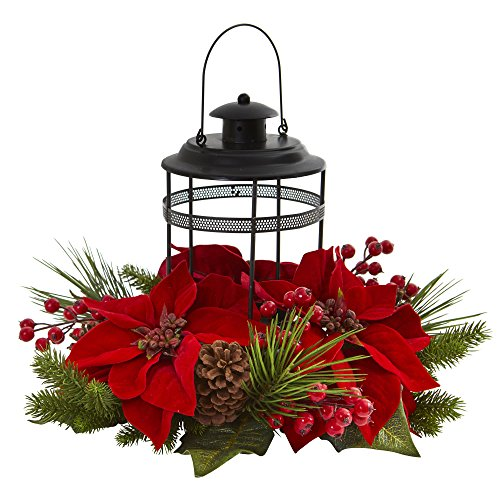 - Nearly Natural 4267 Poinsettia Berry Pine Artificial Candelabrum Silk Arrangements, Red