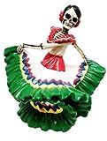 Dancing Senorita Day of The Dead Sugar Skull Mexico Dancer Figurine Calacas
