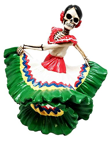 Dancing Senorita Day of The Dead Sugar Skull Mexico Dancer Figurine Calacas