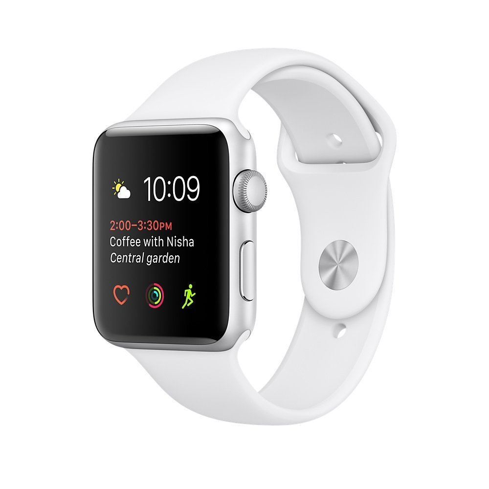 Apple watch series 2 42mm ALUMINUM Case SPORT (Silver Aluminum Case with White Sport Band) (Certified Refurbished)